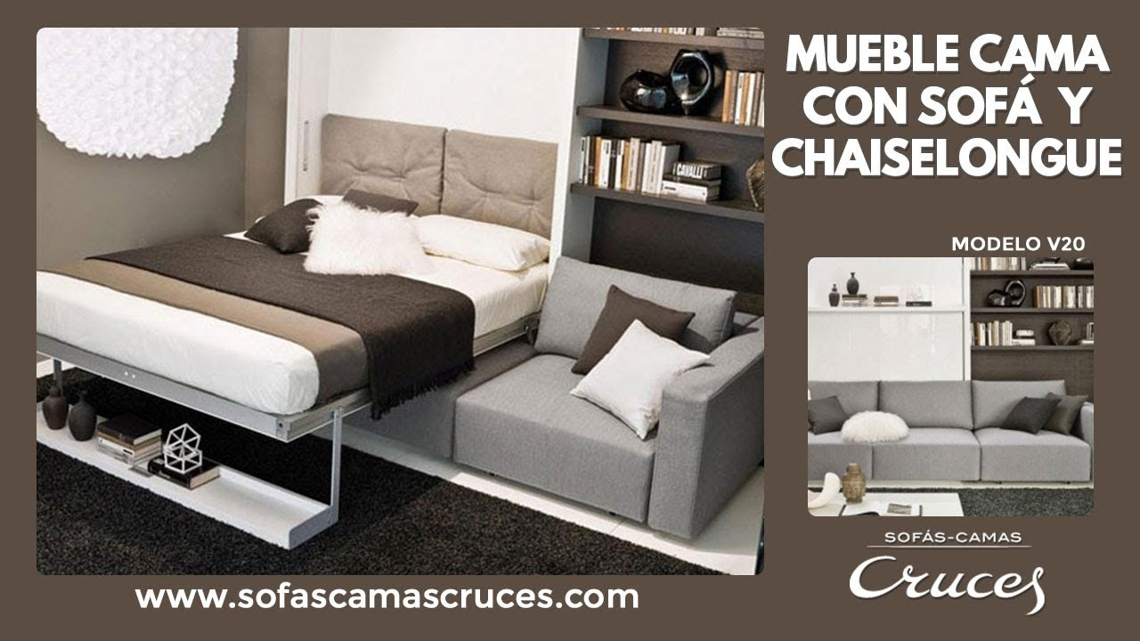 Mueble cama abatible de matrimonio con sof delante youtube for Mueble cama abatible vertical matrimonio