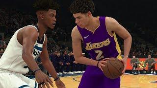 NBA 2K18 Gameplay Minnesota Timberwolves vs L.A. Lakers (Lonzo Ball vs Jimmy Butler)