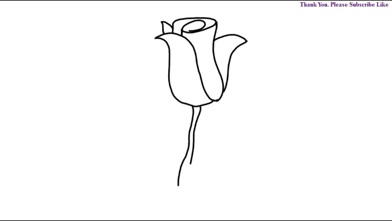 How To Draw A Rose Flower For Kids Step By Step