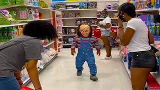 Chucky Scares People In Public Prank! (Got Kicked Out)