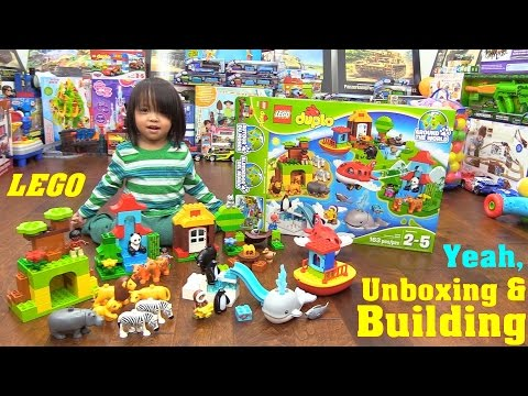 Family Toy Review: Animal Toys! Lego Duplo Around The World Building Set. Let's Build Lego!
