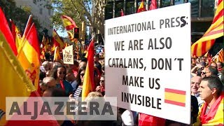 Anti-secessionist Catalans take to streets after referendum