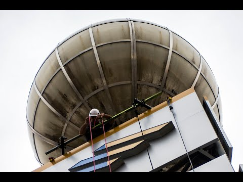 Flint's iconic weather ball gets facelift with new bank's letters downtown