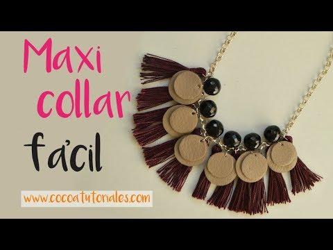 Cómo hacer un collar fácil en casa/How to make an easy maxi necklace at home (english subtitles)