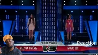 "Music Box vs Melissa Jimenez ""Girl on Fire""  The Voice 2014 Final Battles Reaction"