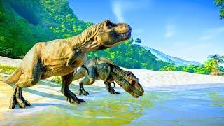 T-Rex & Velociraptor Hunting In Desert Environment - Jurassic World Evolution