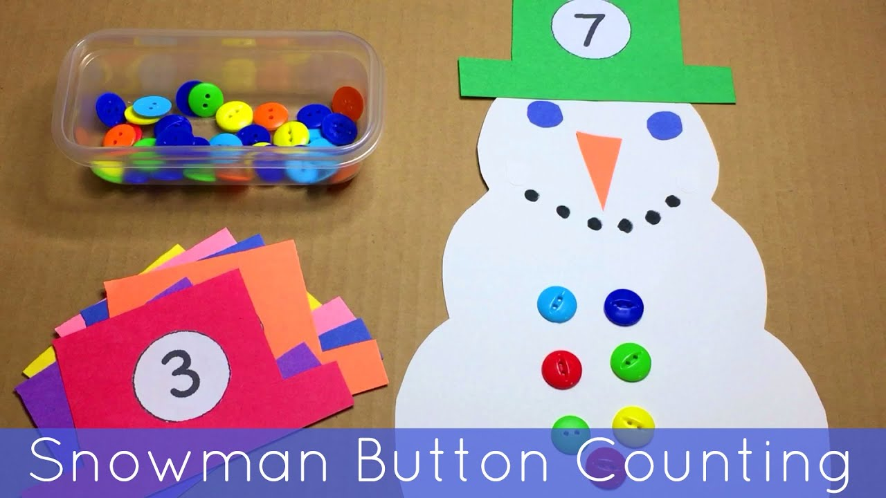 Snowman Button Counting - Math and Fine Motor Activity For Preschool ...