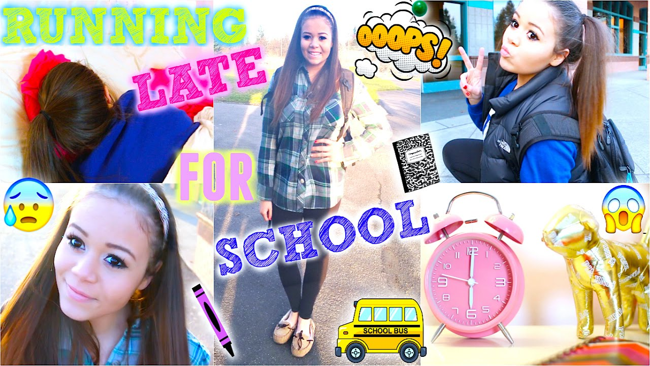 Running Late For School! Quick Hair Makeup &amp Outfit - Cute Easy Hairstyles For School