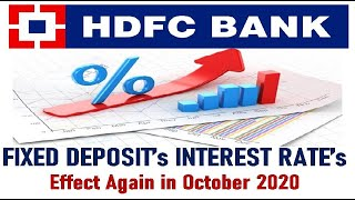 HDFC Bank ! Fixed Deposit (FD) ! October 2020 Interest Rate ! HDFC BANK #Corona #GdTechy