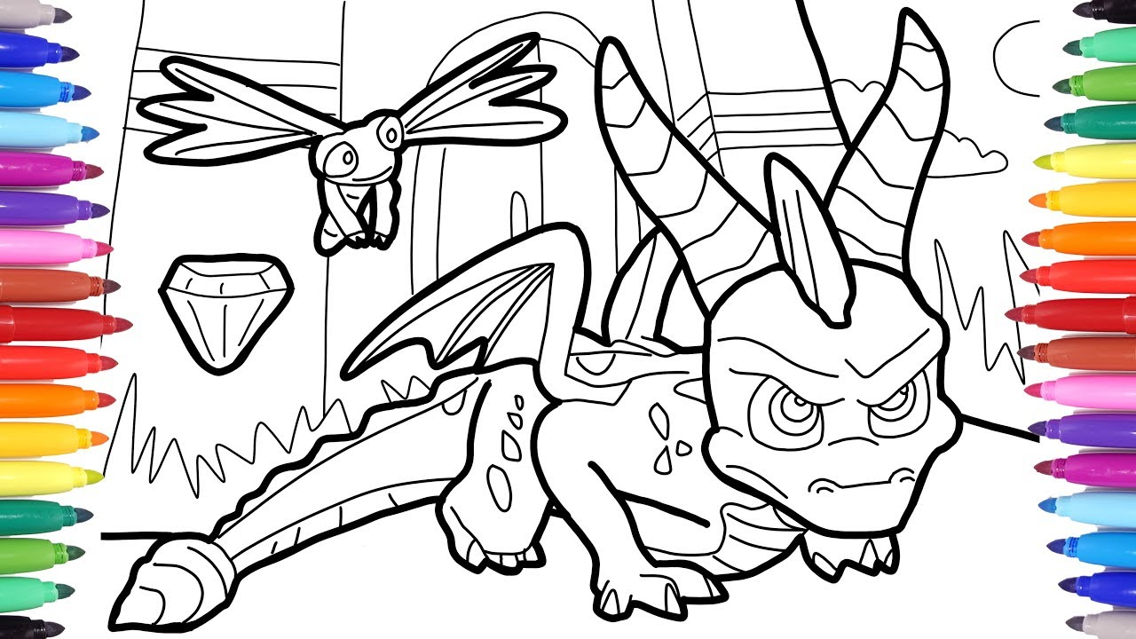 Spyro Reignited Trilogy Coloring Pages For Kids How To Draw Spyro The Dragon Youtube