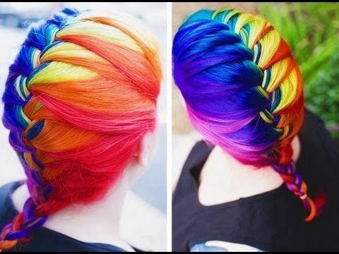"rainbow ""ombre inspired"" hair tutorial"