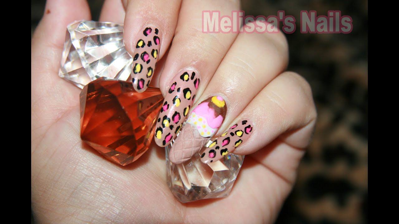 Melissa\'s Nails Tutorial de Helado Ice Cream Cone Nail Inspired by ...