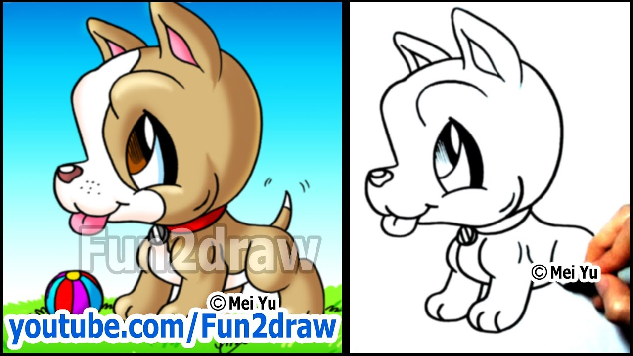 pitbull puppy how to draw a dog cute easy cartoon tutorial youtube