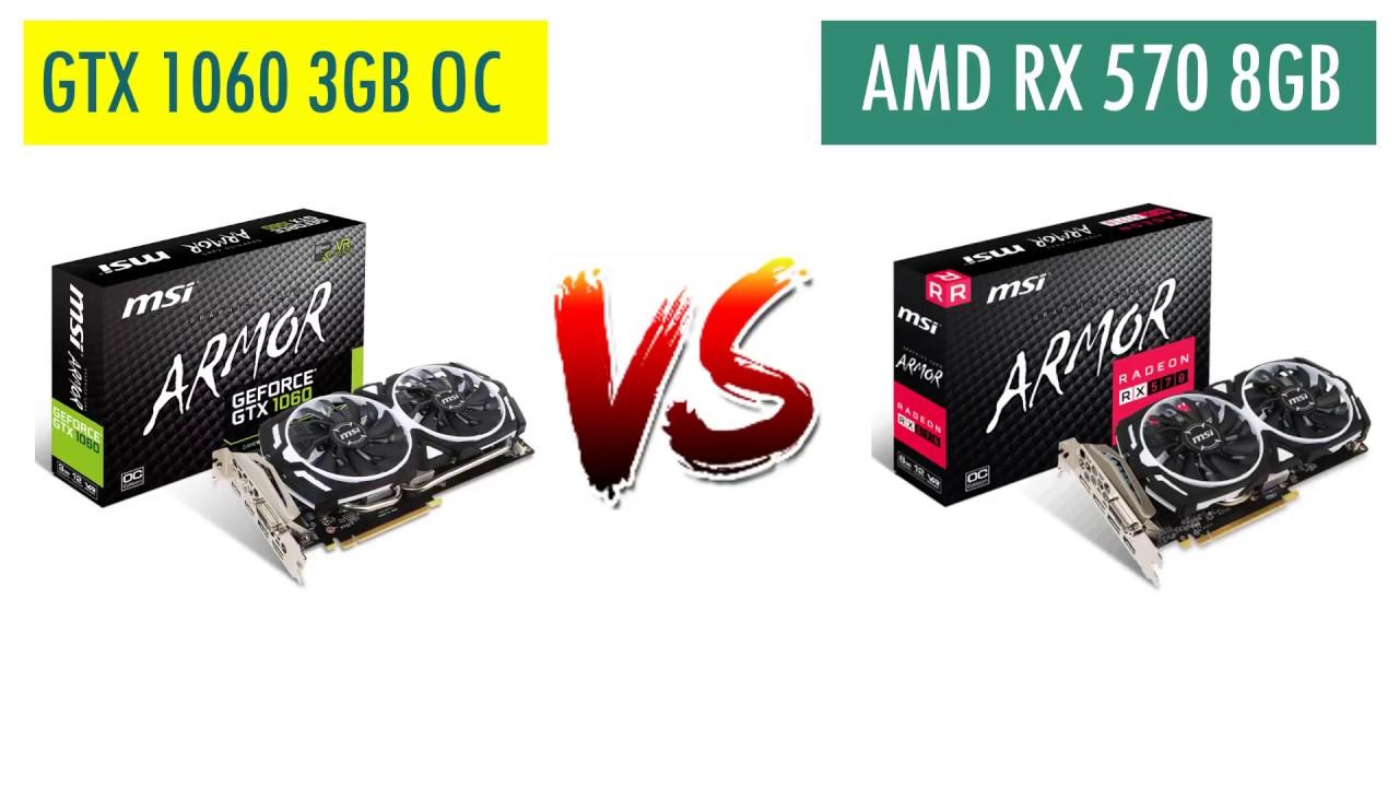 GTX 1060 3GB OC vs RX 570 8GB - AMD Ryzen 5 2600 - Benchmarks Comparison