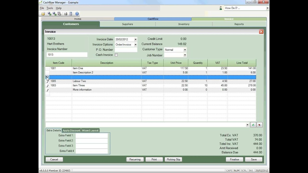 How To Create An Invoice In Cashflow Manager Small Business - Invoice management software for small business
