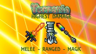 Terraria 1.2.4 Highest Damage - Melee - Ranged - Magic (600,000 DPS) -Max Stats