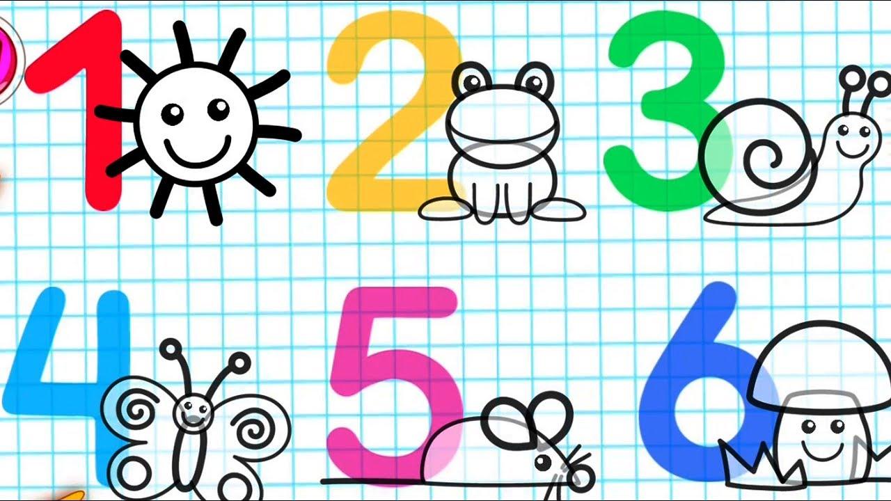 учить и рисовать цифры от 1 до 10 для детей обучающее видео