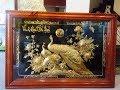 Tranh vợ chồng chim công mạ vàng - tranh đôi công mạ vàng 9999
