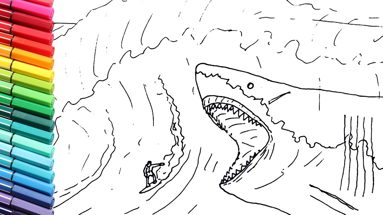 Drawing And Coloring The Megalodon Vs Surfer Giant Shark Color