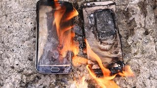 Burning Samsung Galaxy S6 Edge VS iPhone 6 Fire Test - Will It Melt?