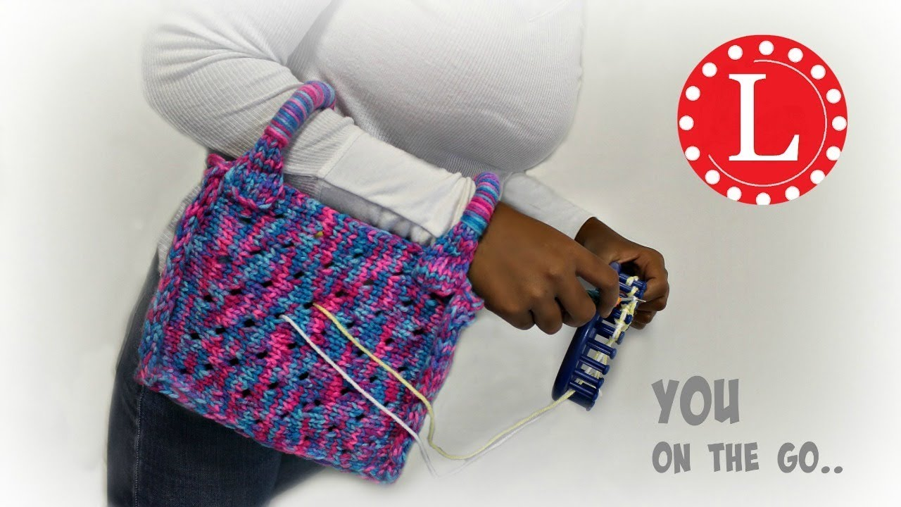 Loom Knit Bag - Purse - Small Yarn Holder Tote Bag Pattern on Round ...