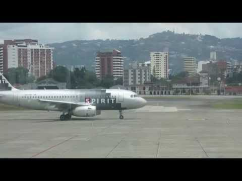 Spirit Airlines taking off from Guatemala City Aiport