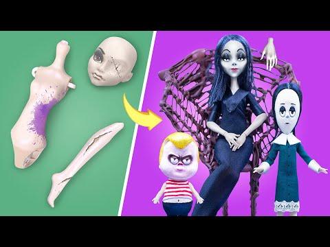 10 идей для старых кукол Барби и ЛОЛ в стиле Семейки Адамс