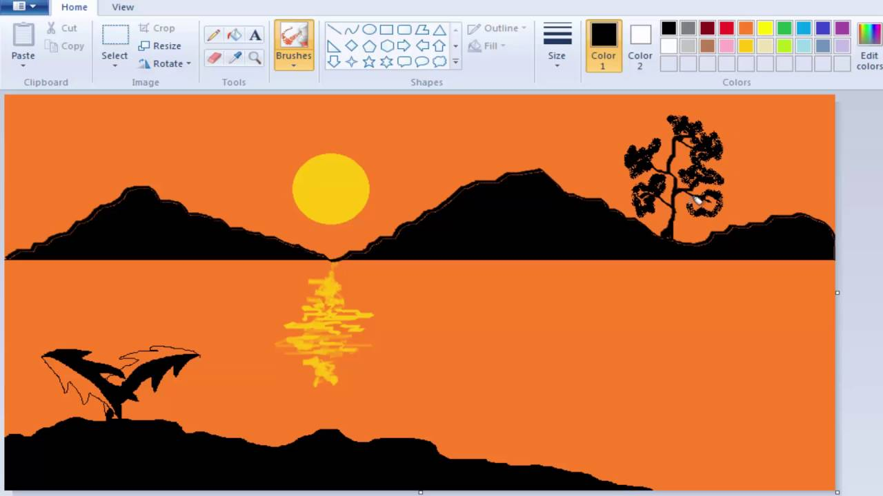 How to draw and paint a natural scenery on windows 7 ms paint