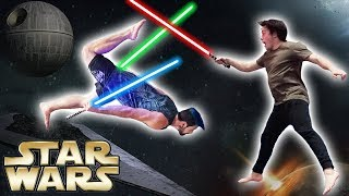LIGHTSABER VS TRAMPOLINE  |  Star Wars Jedi Training In Real Life