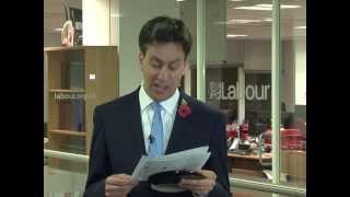 Ed Miliband reads,