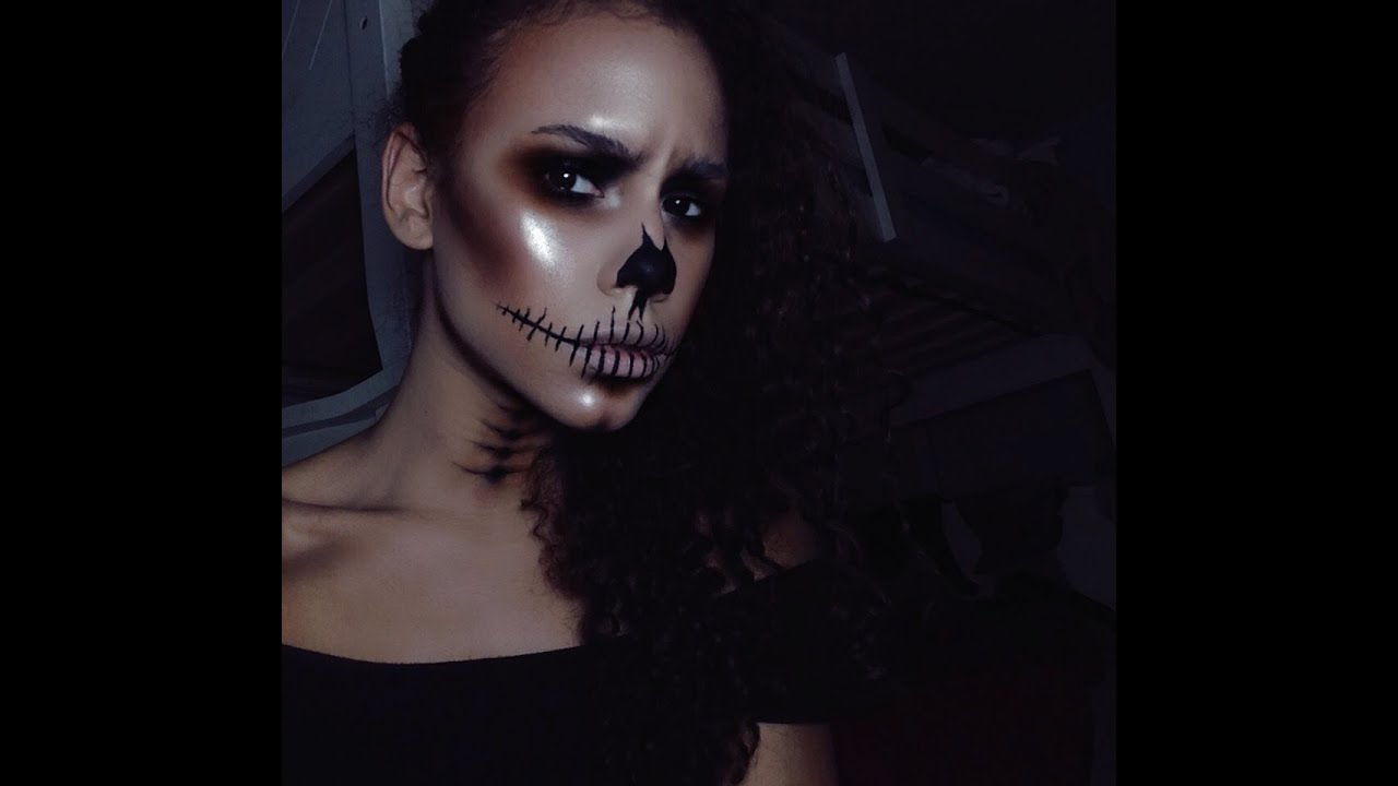 Tumblr Skull Halloween Makeup tutorial - YouTube