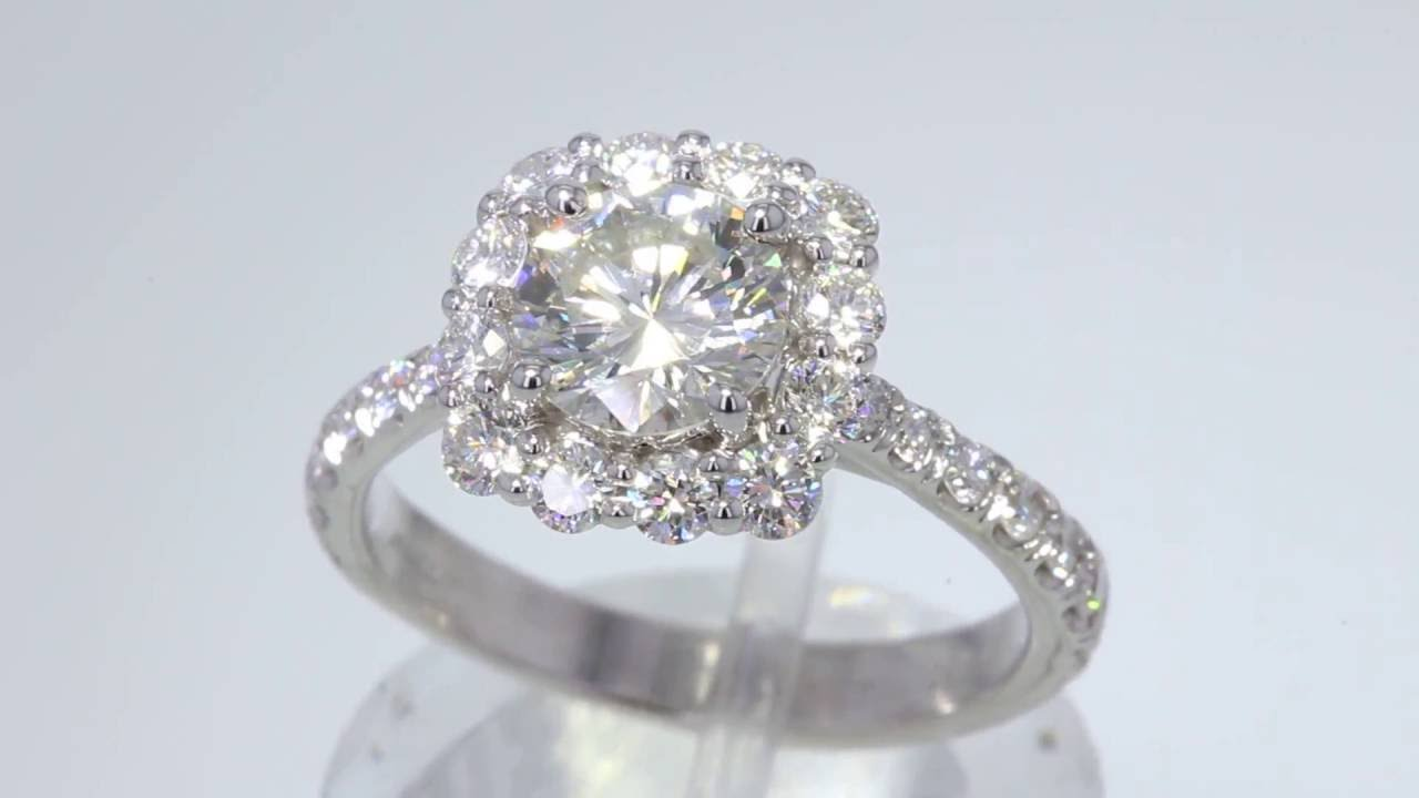 172CT Round Brilliant Leo Diamond Halo Engagement Ring GSI Cert