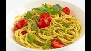 """Паста с соусом песто и помидорами черри (pasta, pesto) Вегетарианское - видео рецепт """"Личный Повар"""""""