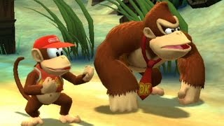 Donkey Kong Country Returns Co-op Walkthrough - World 2 - Beach (All Collectibles)