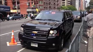 NYPD & United States Secret Service Escorting A Large Motorcade On 2nd Ave In Manhattan