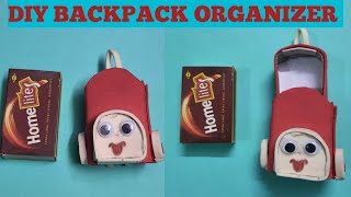 #DIY Miniature / backpack Organiser, back to School with matchbox. Best out of waste