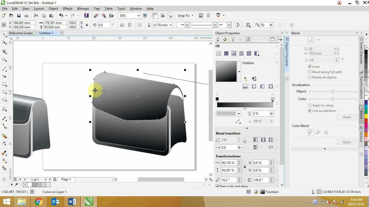 Bài 1. Corel – Hướng dẫn vẽ túi xách 3D