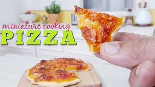 Miniature real food cooking Tomato and Cheese Pizza   functional kitchen toy  #tinycooking mini food