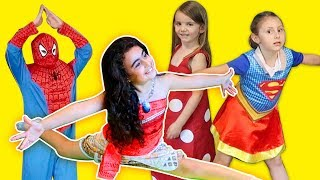 Moana Maşa Spiderman Supergirl Jimnastik Challenge | Mira ve Ege ile Eğlenceli Çocuk Videosu