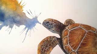 Speed painting watercolour - Sea Turtle