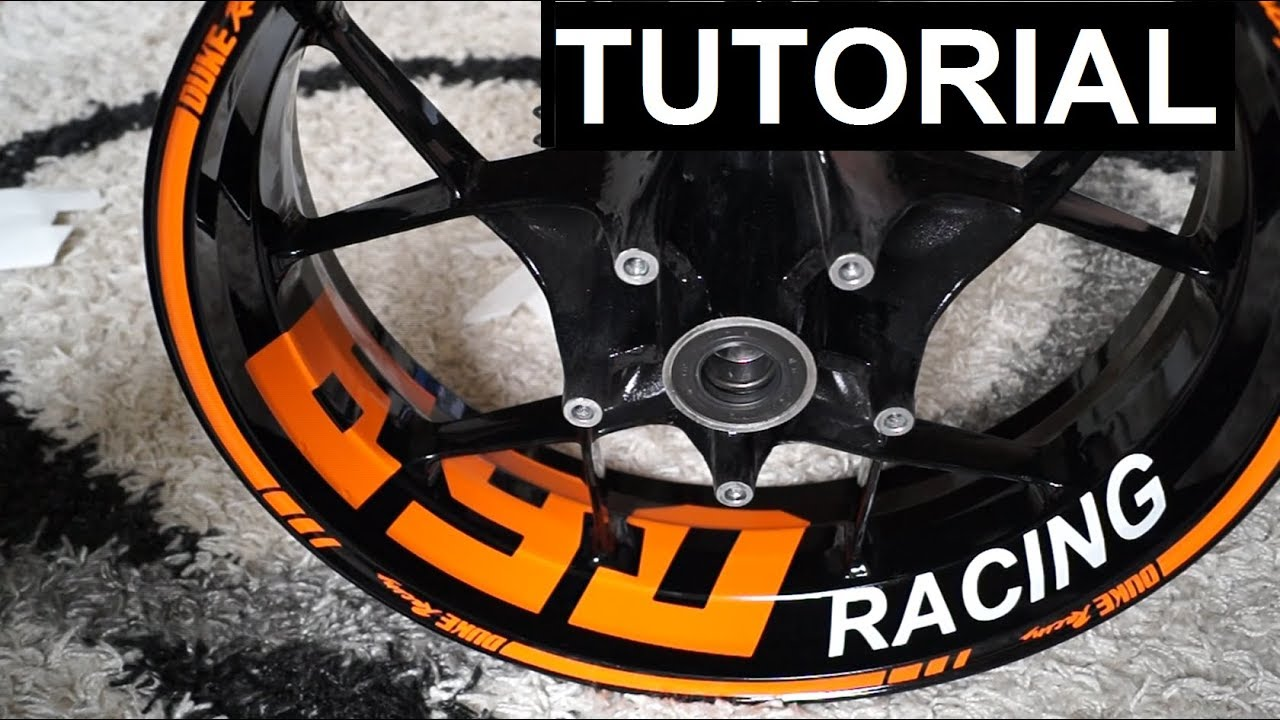 how to: mount wheel stickers on ktm duke 200, 390, 690 (tutorial