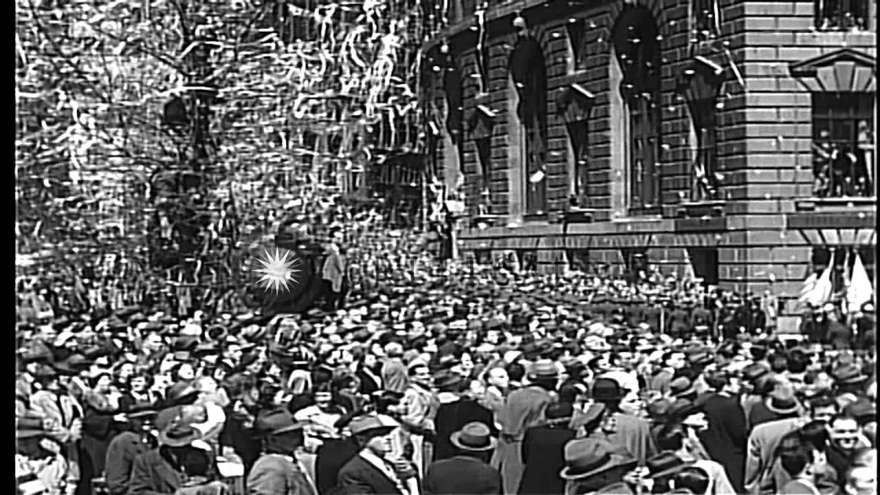 Ticker tape parade in New York City for General Douglas MacArthur HD Stock Footage - YouTube
