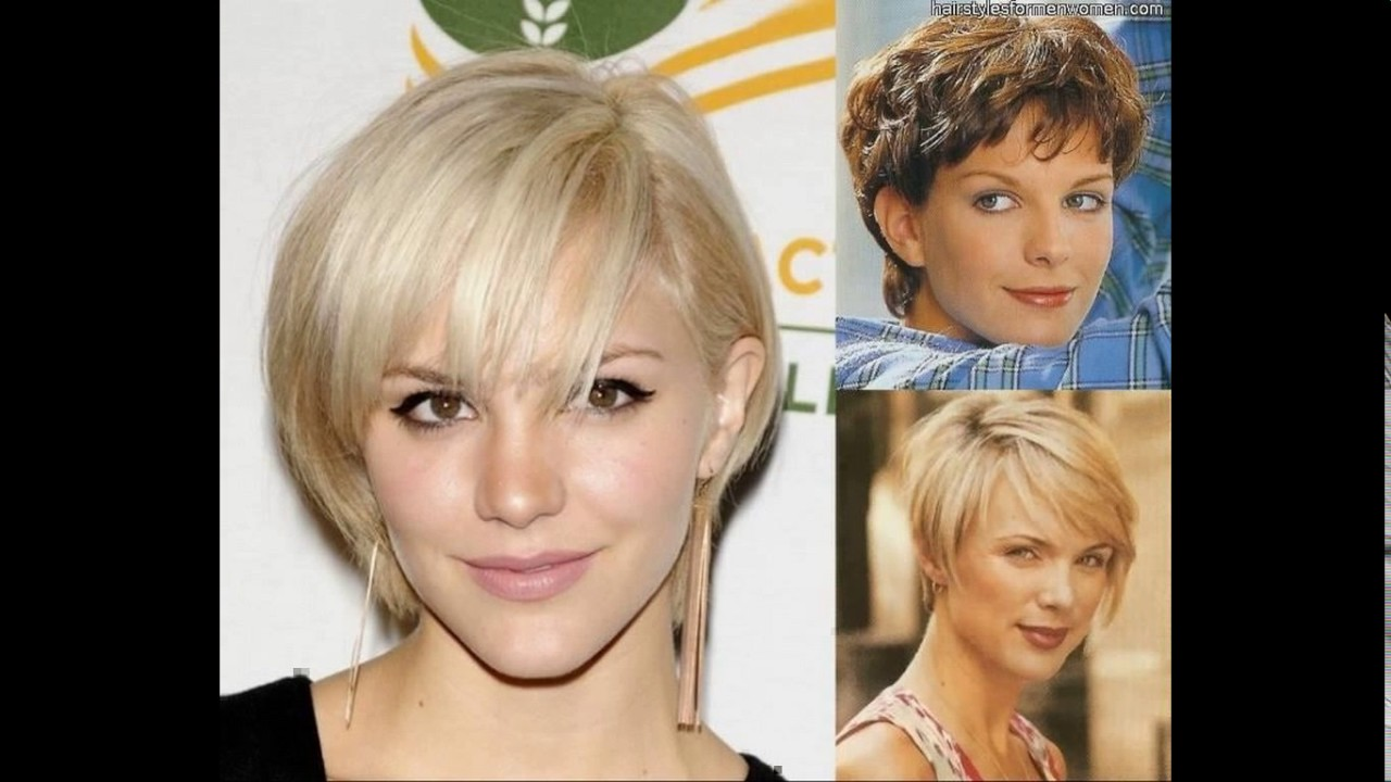 Short haircut square face fine hair - YouTube