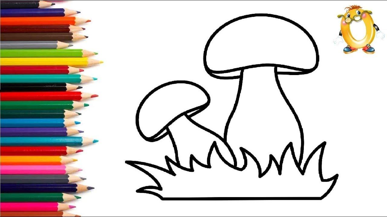 Раскраска для детей ГРИБЫ. Мультик - Раскраска. Учим цвета ...