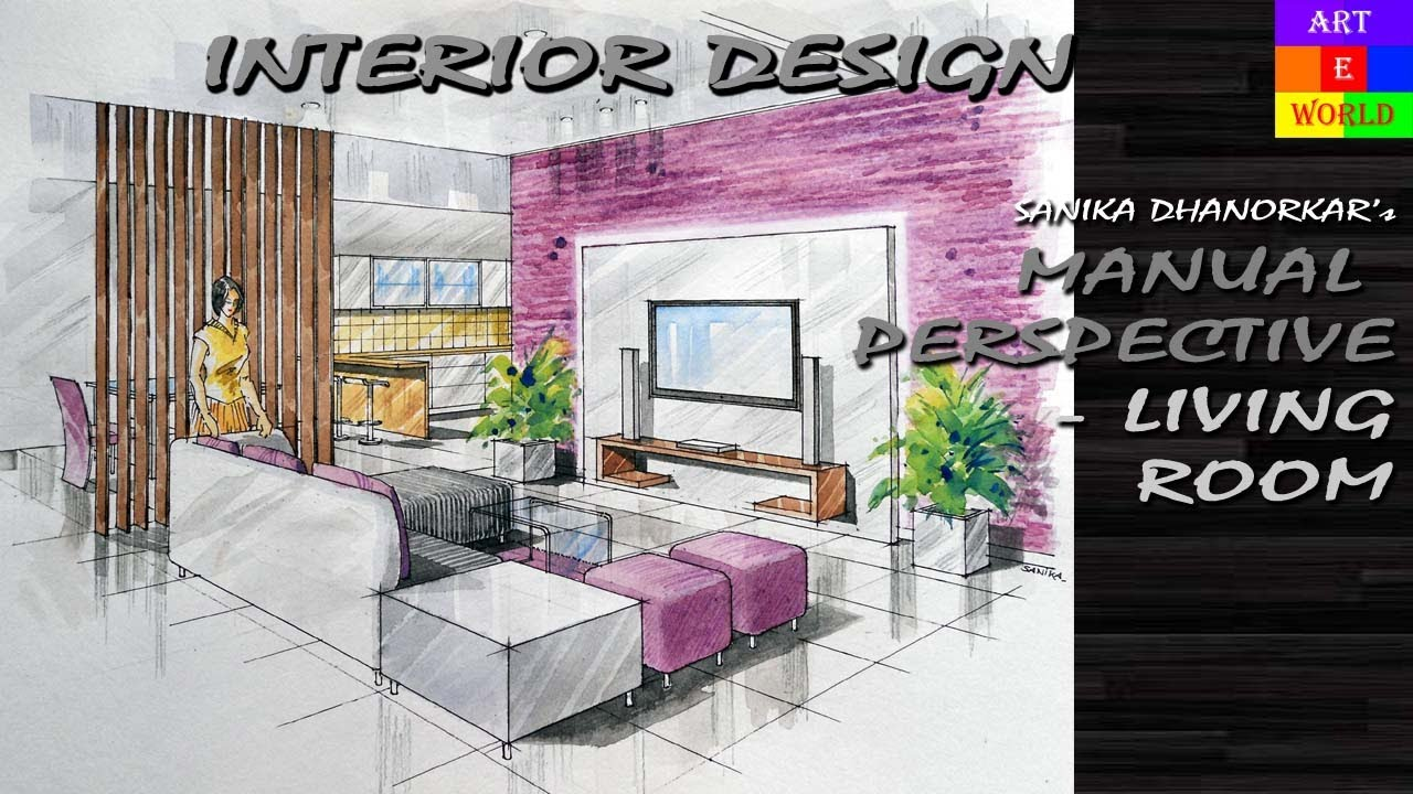 Living Room 2 Point Perspective manual rendering | 2-point interior design perspective drawing