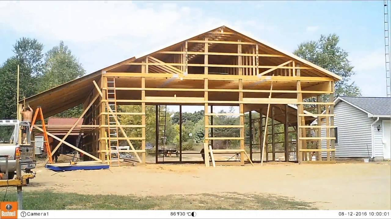 Pole Barn Build 4 Roofing And Wall Tin Youtube