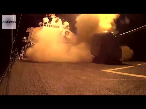 Guided Missile Destroyer Launching Tomahawk Missiles