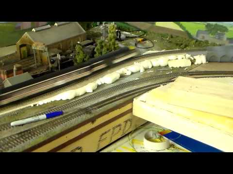 building foam support for incline on model rail layout