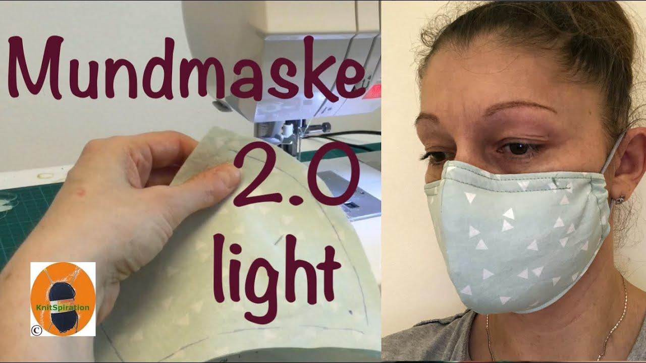 Mundmaske nähen 2.0 light - Mit Filter und Draht, mit gratis Schnittmuster in zwei Größen