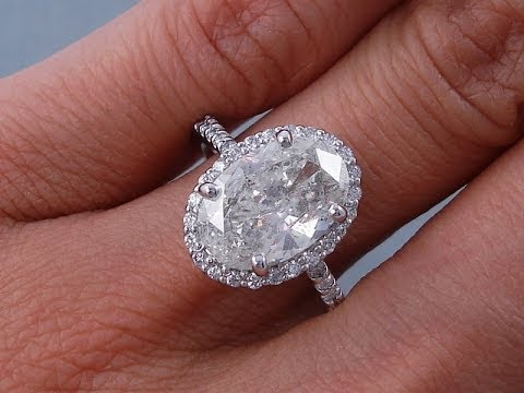 3 55 Ctw Oval Cut H Si2 Diamond Engagement Ring